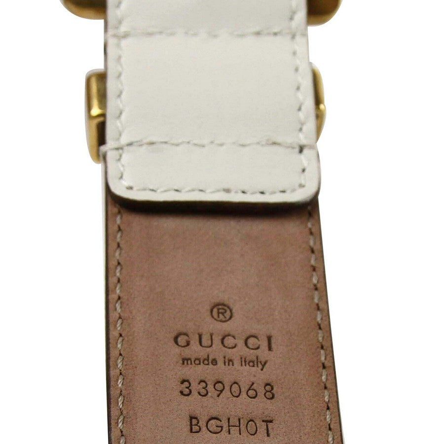 Gucci Women's Off White Leather Square Buckle Bamboo Detail Belt 339068 9022 (95 / 38)