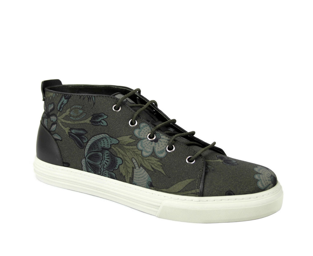 Gucci Men's Green Lace-up Floral Fabric Fashion Sneakers 342048 3364