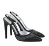 Bottega Veneta Leather Python Sling Back Heel Sandal Black 347047 8365