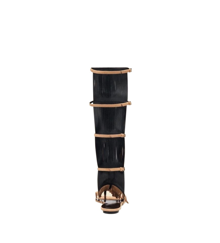 Gucci Women's Brown Suede Becky Knee High Gladiator Sandal With Fringe 351310 2754 - LUX LAIR