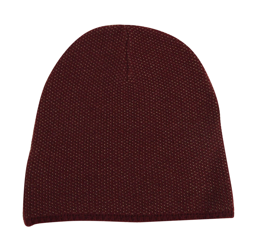 Gucci Unisex Burgundy Wool Cashmere Cotton Knit Beanie Hat With Logo 352350 6079