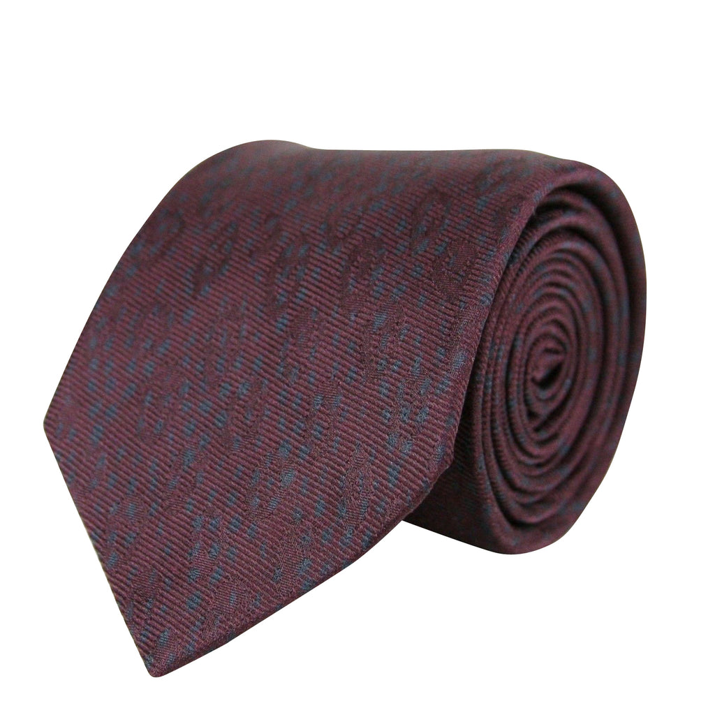 Bottega Veneta Men's Dot Print Dark Red / Dark Gray Cotton Silk Leopard and Tie 355737 6162 - LUX LAIR