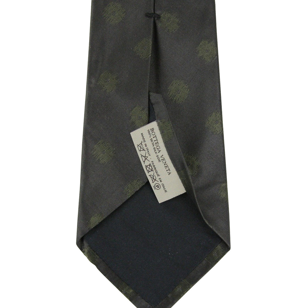 Bottega Veneta Tie Silk With Green Dots - Back Look