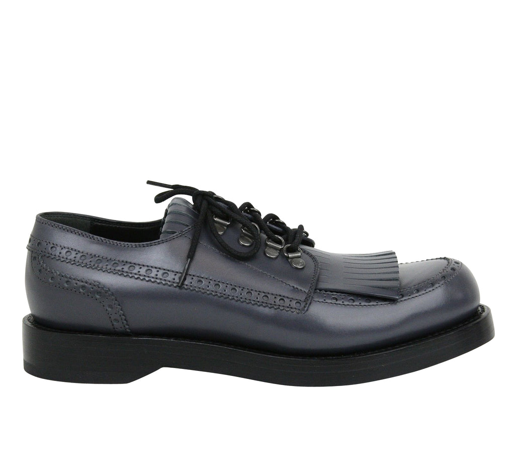 Gucci Men's Fringed Brogue Bluish Gray Leather Lace-Up Shoes 358271 1107