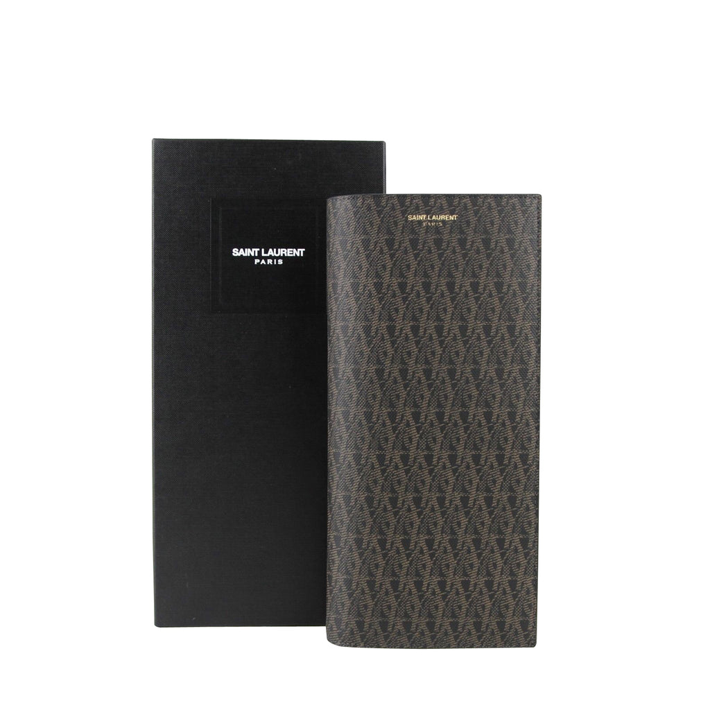Saint Laurent Black/Brown Supreme Canvas Leather Wallet With Slip Pocket Holder 361321 1059 - LUX LAIR