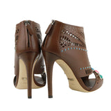 Gucci Women's Brown Opened Toed Heel Boots With Gem Detail 371057 2548