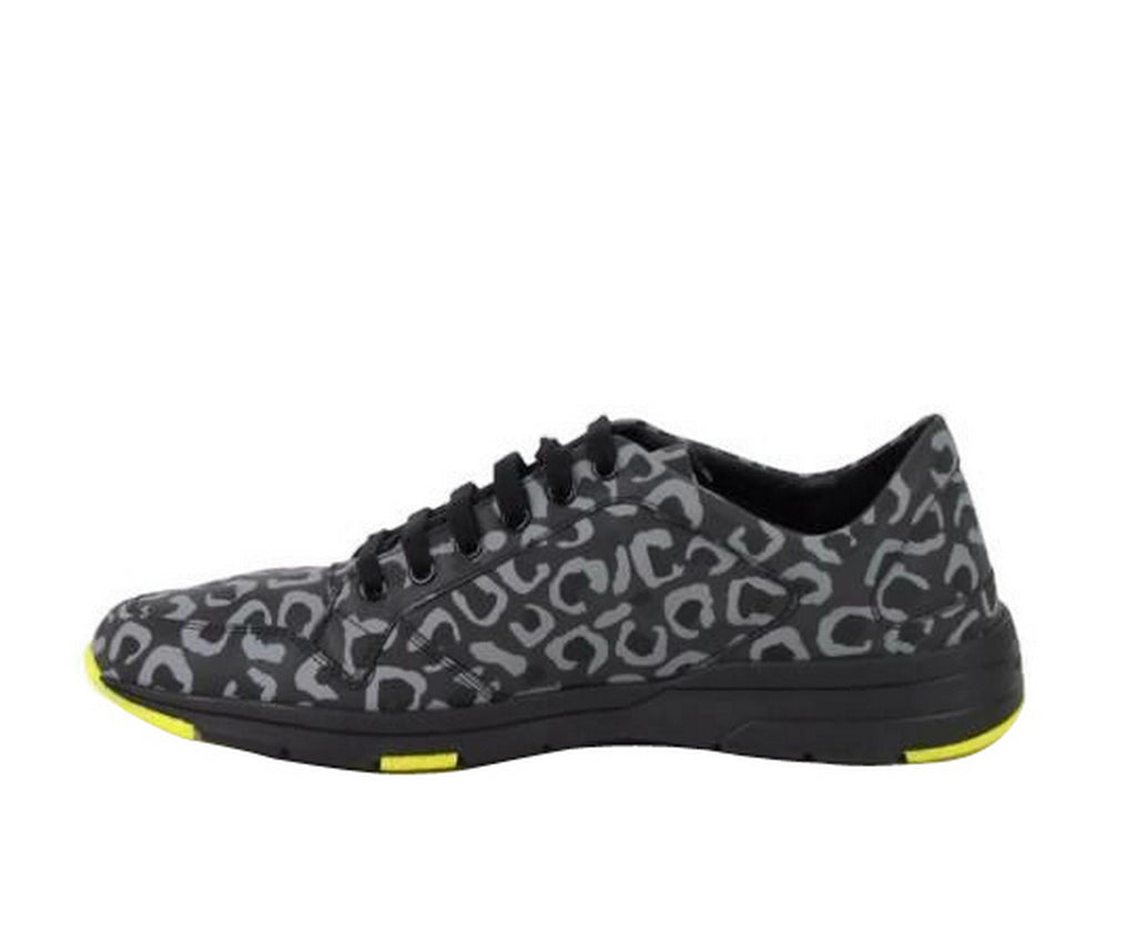 Gucci Men's Reflex Leopard Print Gray / Yellow Fabric Running Sneakers 375083 1000