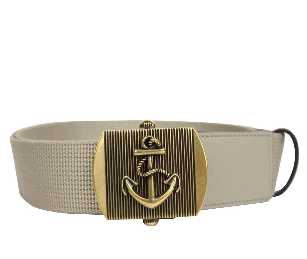 Gucci Men's Military Beige Fabric Belt Anchor Brass Buckle 375191 1523 - LUX LAIR
