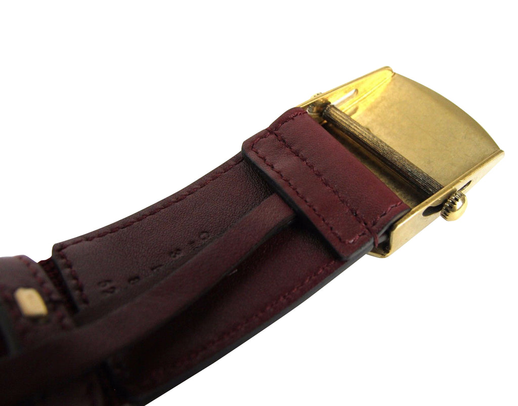 Gucci Men's Military Burgundy Fabric Anchor Brass Buckle Belt 375191 6148