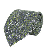 Bottega Veneta Splatter Pattern Men's Green/White / Brown Cotton Silk Striped Tie 376672 2067
