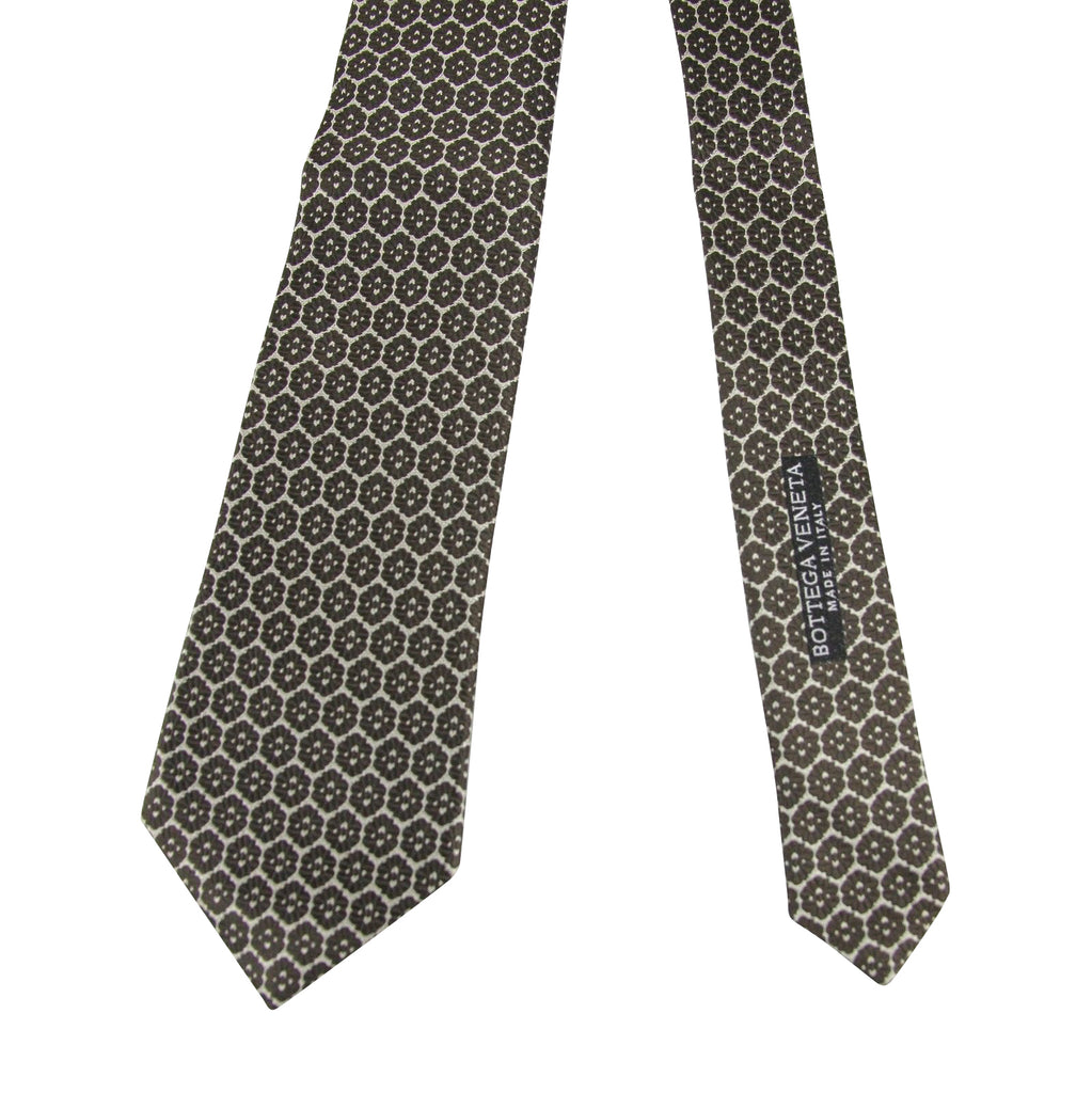 Bottega Veneta Silk Tie Flower Print Beige Color For Men