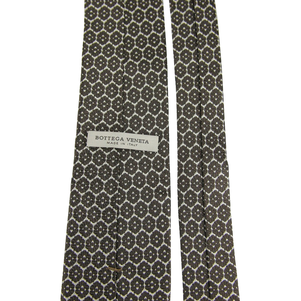 "Bottega Veneta Silk Tie Flower Print Beige - 3"" Wide"
