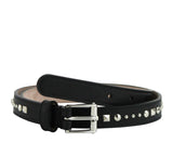 Gucci Women's Silver Buckle Studded Black Leather Skinny Belt 380561 1000