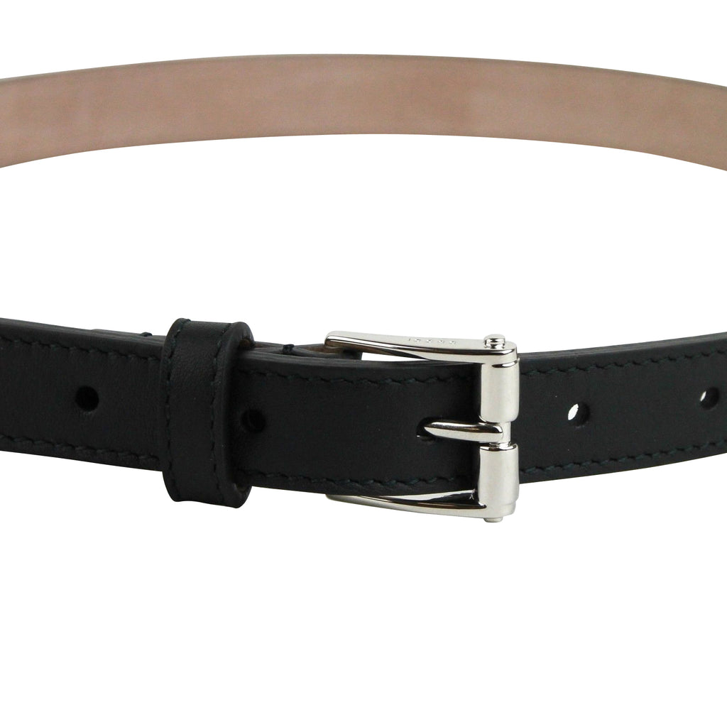 Gucci Women's Silver Buckle Studded Black Leather Skinny Belt 380561 1000 - LUX LAIR
