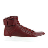 Gucci High Top Strong Dark Red Leather Sneakers With Strap 386738 6148