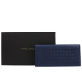 Bottega Veneta Men's Intercciaco Navy Blue Leather Long Bifold Wallet 390878 4111