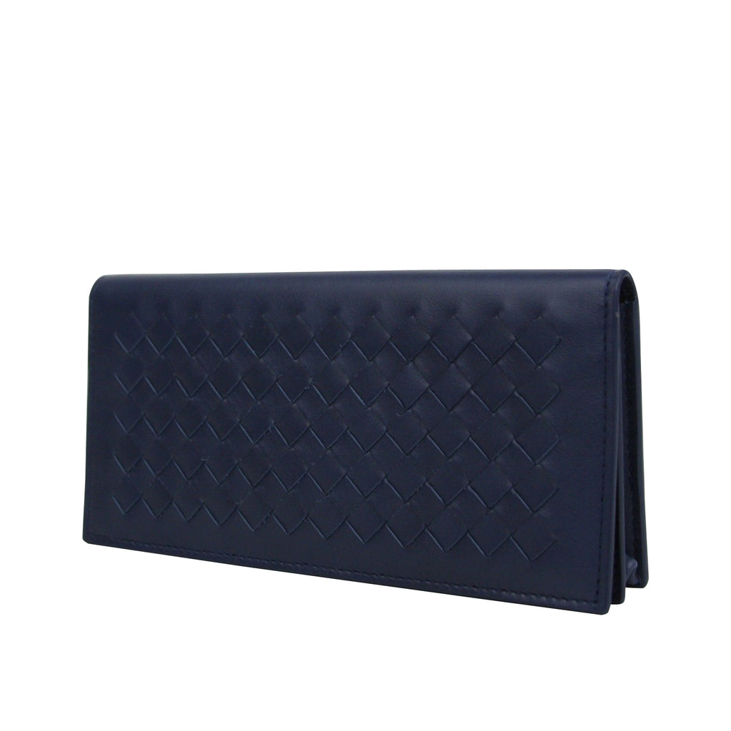 Bottega Veneta Men's Intercciaco Navy Blue Leather Long Bifold Wallet 390878 4111 - LUX LAIR