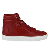 Balenciaga Men's Hi Top Dark Red Leather / Coated Canvas Sneaker 391205