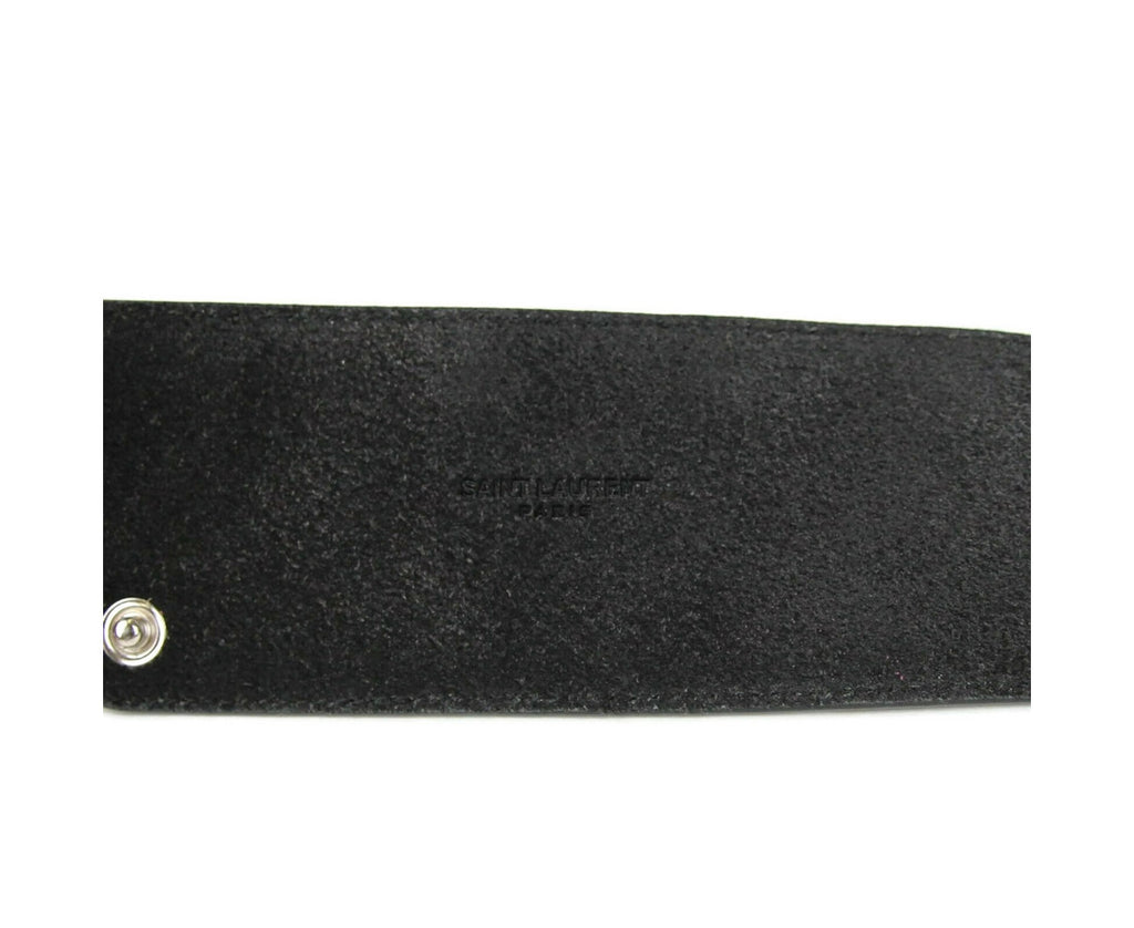 Saint Laurent Women's Black Leather Studded Zippered Snap Belt 395547 1000 (75 / 30) - LUX LAIR