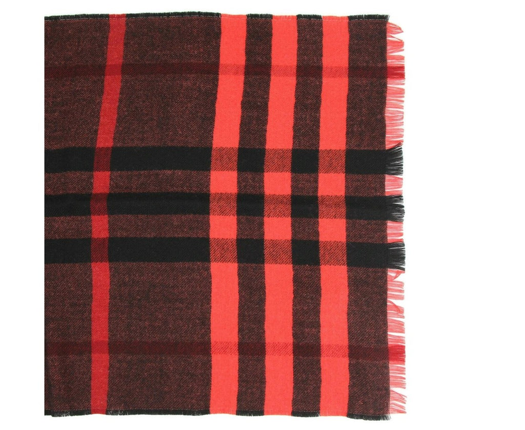 Burberry Wool Scarf Military Red Reversible Color Check