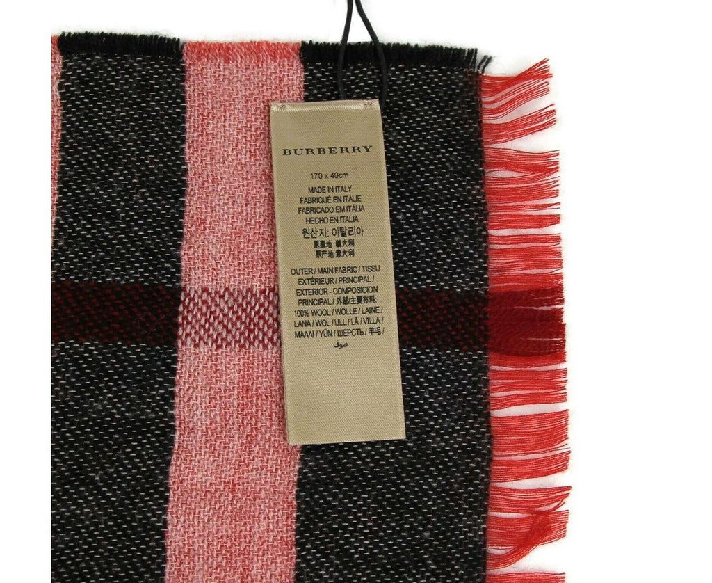 Burberry Wool Scarf Military Red Reversible Check - Tag