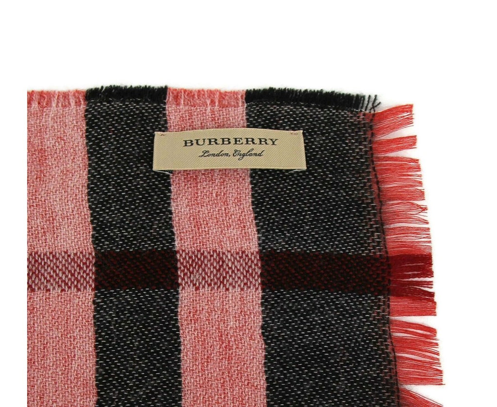 Burberry Wool Scarf Military Red Check - Reversible Tag