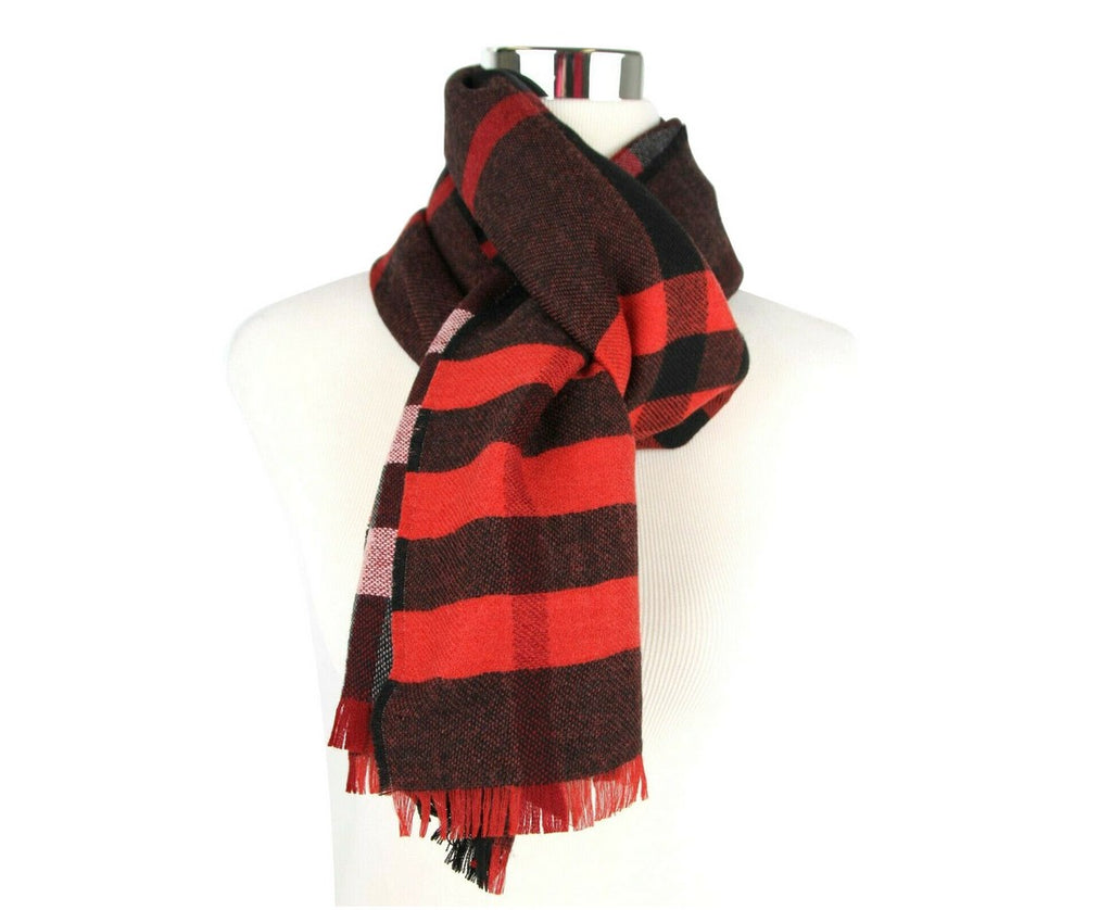 Burberry Wool Scarf Military Red Reversible Check - Front