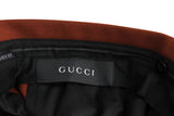 Gucci Men's Dark Brown Orange Polyester Wool Elastane 70s Formal Pant 398954