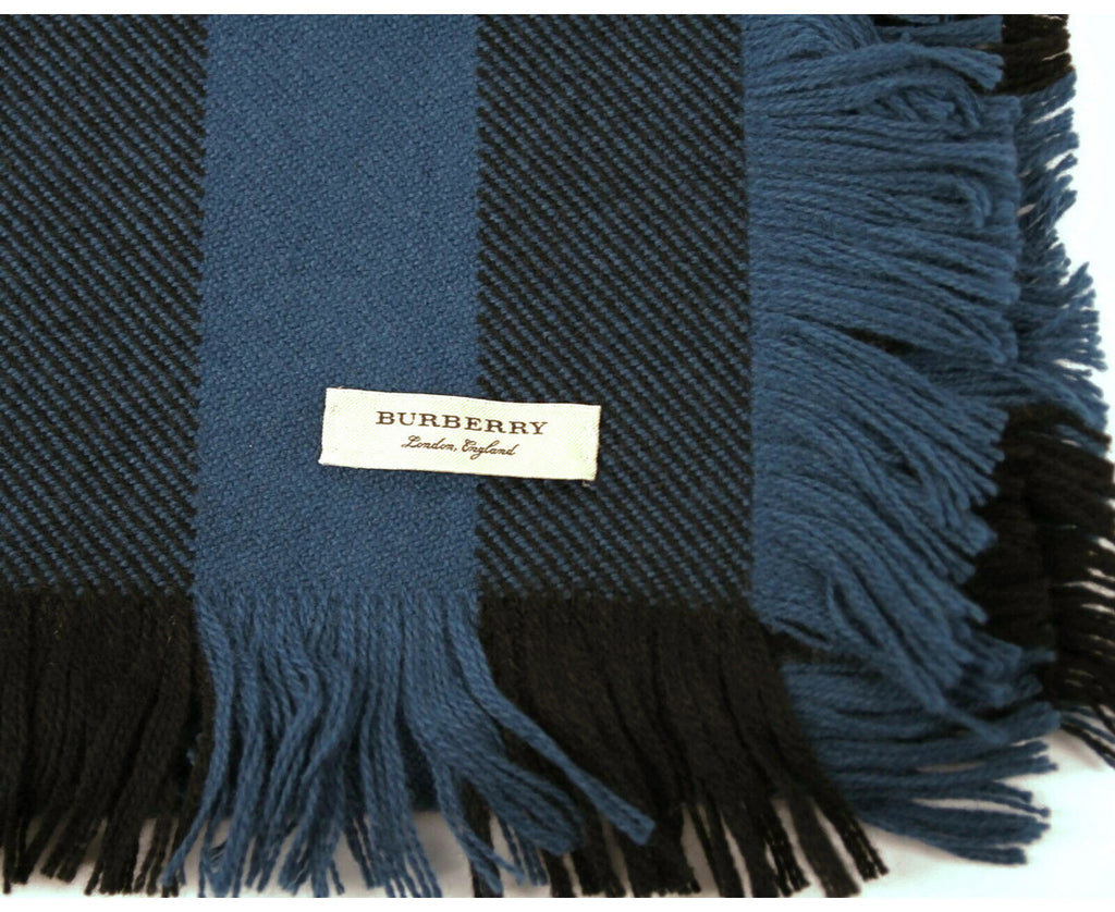 Burberry Women's Blue / Black Wool Fashion Scarf with Fringe and Pink Stripe 40609901 - LUX LAIR