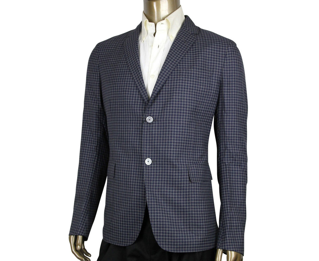 Gucci Men's Formal Midnight Blue / Grey Wool Jacket 2 Buttons 406326 4038