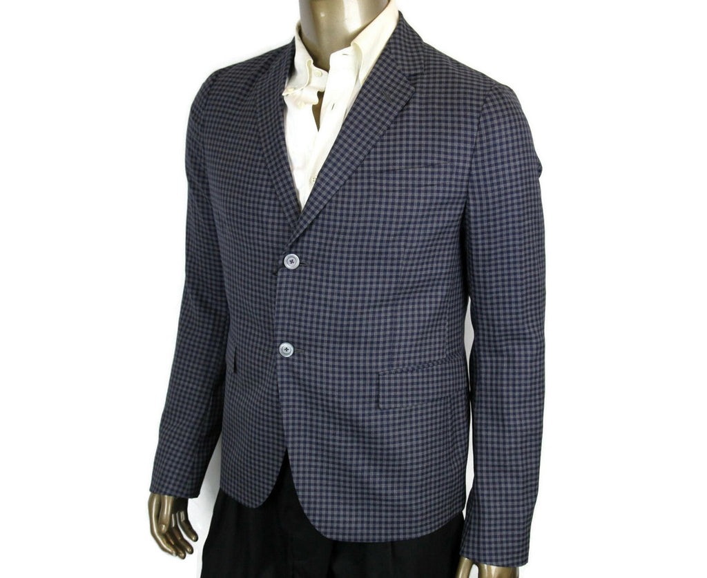 Gucci Men's Formal Midnight Blue / Grey Wool 2 Button Jacket 406675