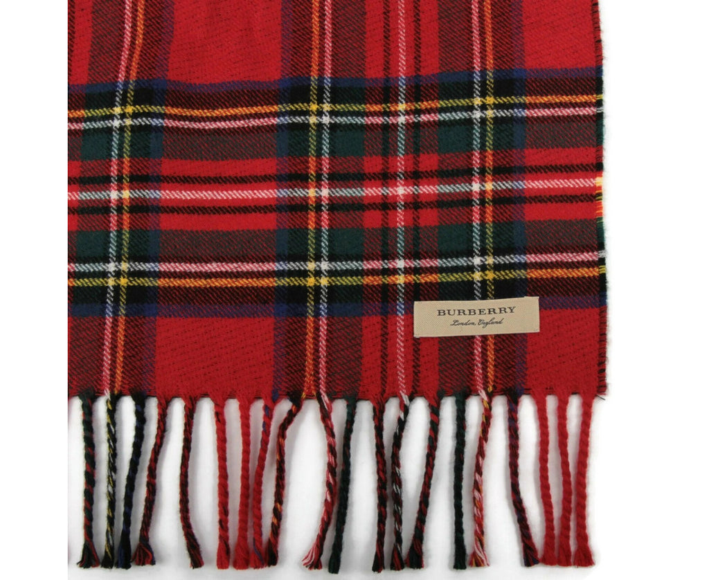 Burberry Women's Bright Red Wool Vintage Check Scarf 40677541 - LUX LAIR