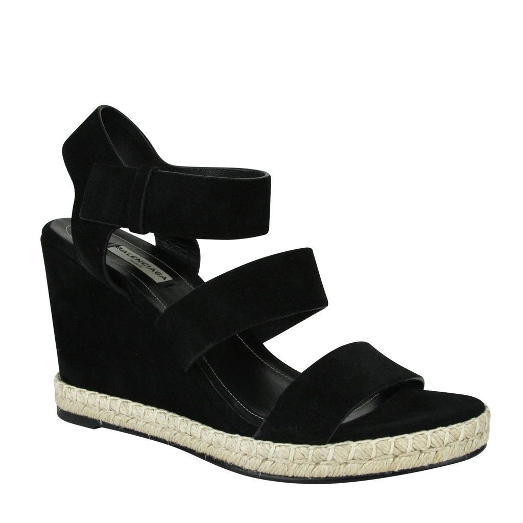 Balenciaga Women's Wedge Platform Black Suede Sandals 410945 1000 (41 EU / 11 US) - LUX LAIR