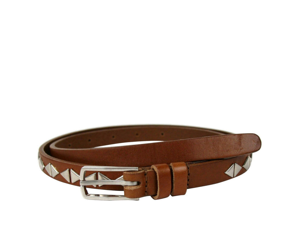 Saint Laurent Unisex Brown Leather Studded Thin Belt 415904 9848 (75 / 30) - LUX LAIR