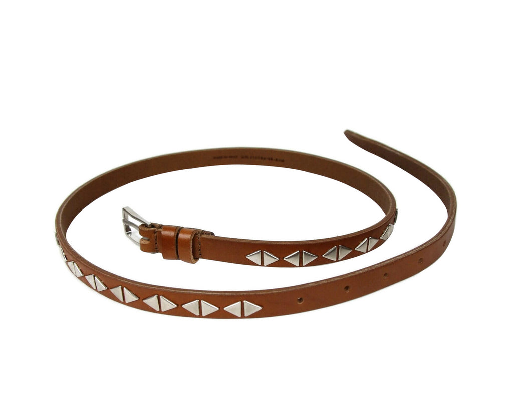 Saint Laurent Unisex Brown Leather Studded Thin Belt 415904 9848 (75 / 30)