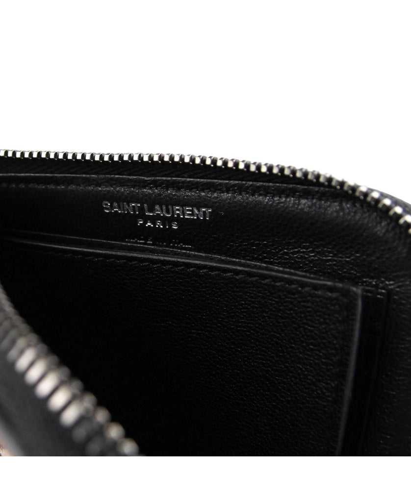 Saint Laurent Men's Black Leather Zip Around Wallet With Silver Stars 417797 1054 - LUX LAIR