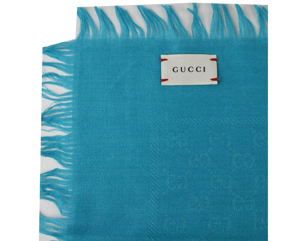 Gucci Unisex Turquoise Guccissima Wool / Silk Square Shawl 418221 4600 - LUX LAIR