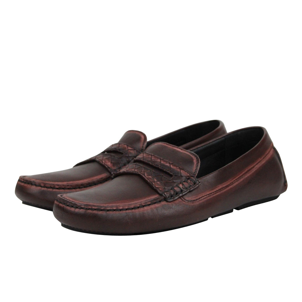 Bottega Veneta Men's Worn Burgundy Leather Loafer Shoes 427368 2240 (41 EU / 8 US)