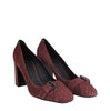 Bottega Veneta Women's Dark Rose Suede Leather Chunky Heels 428928 2240 - LUX LAIR