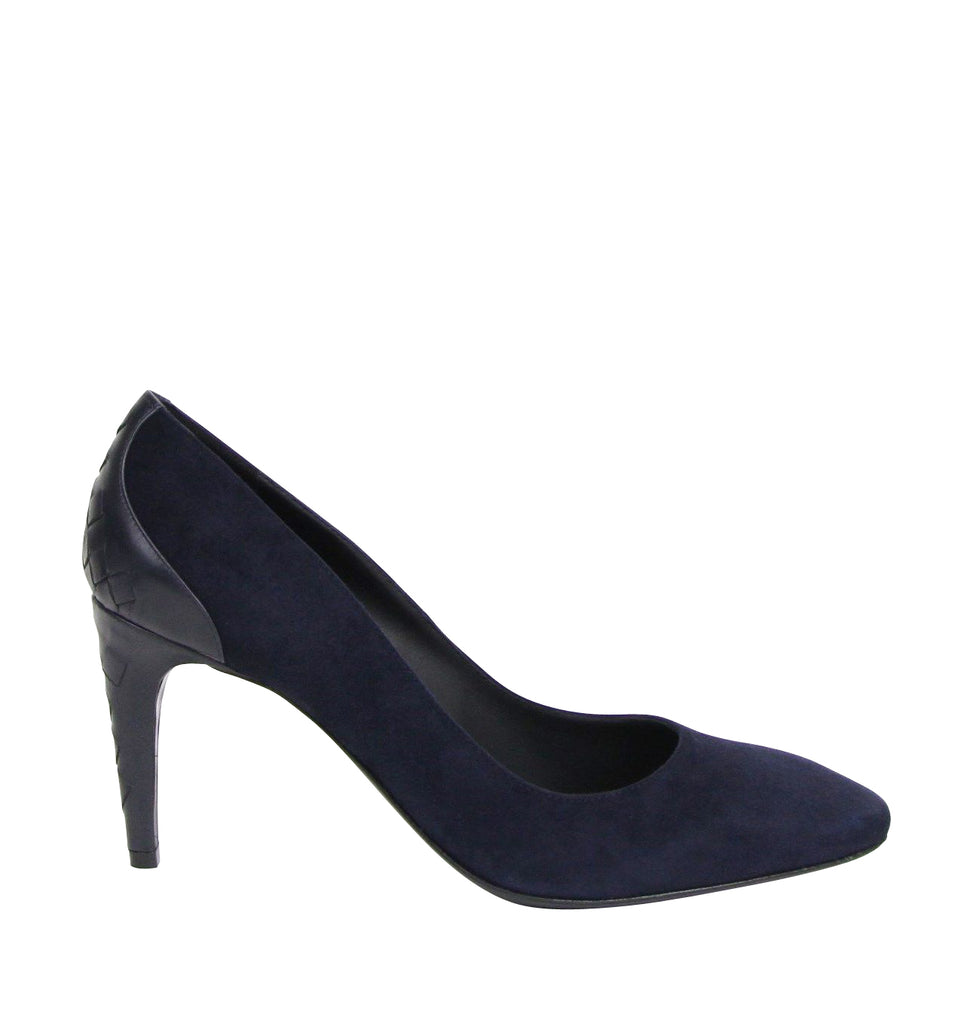 Bottega Veneta Stiletto Heels Navy Suede Leather Lining