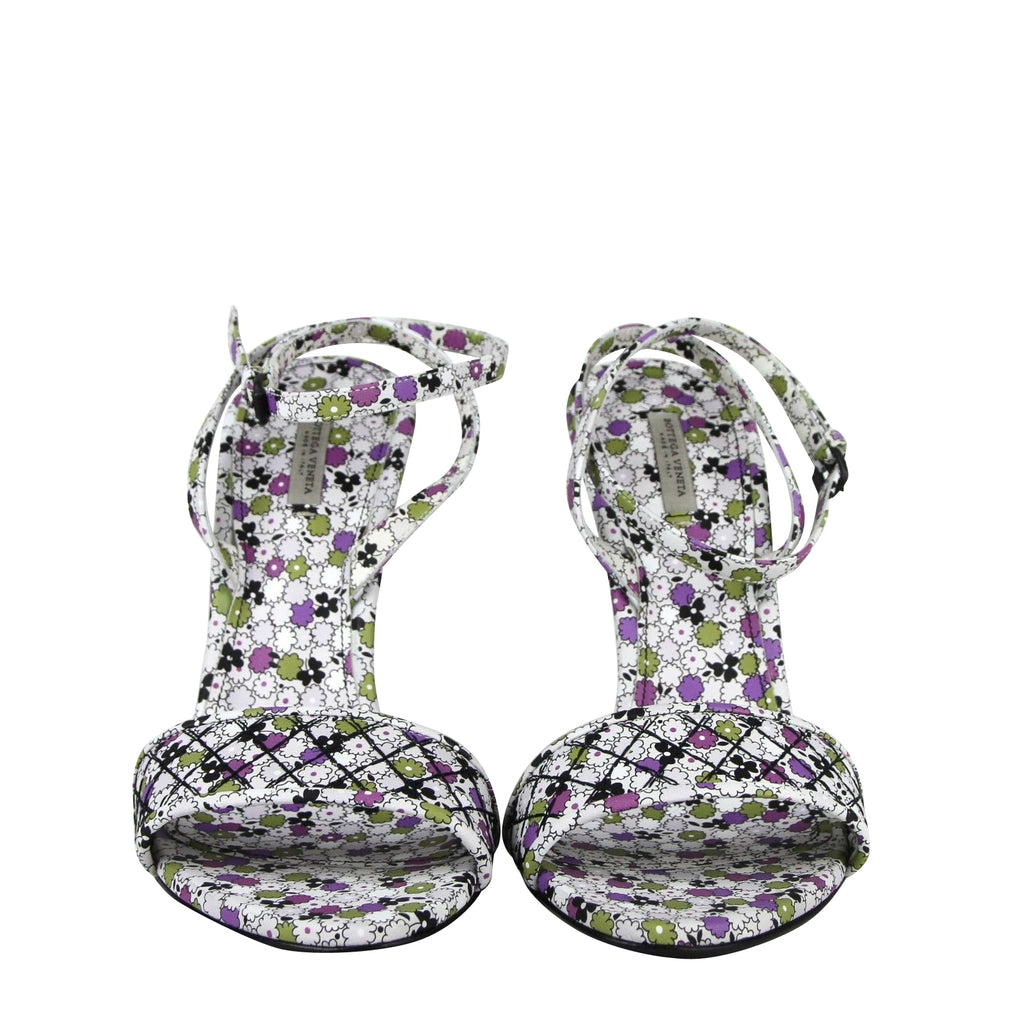 Bottega Veneta Green / Purple Floral Leather Ankle Strap Heels 430539 8404 - LUX LAIR