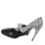 Bottega Veneta Women's Green / Purple Floral Leather Heels 430540 8404