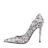 Bottega Veneta Women's Green / Purple Floral Woven Leather Heels 430541 8404 - LUX LAIR