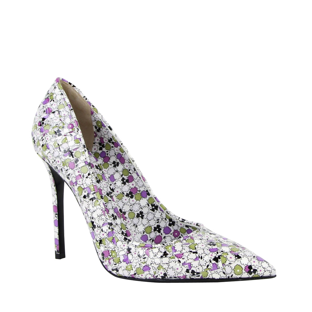 Bottega Veneta Leather Heels Floral Pattern Green Purple