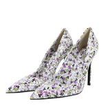 Bottega Veneta Leather Heels Floral Pattern - Side Look