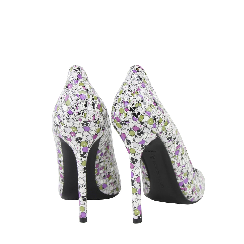Bottega Veneta Leather Heels Floral - Back View