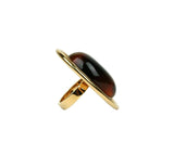 Saint Laurent Women's Oval Brown Tortoise Shell Gold Ring 439960 8027S - LUX LAIR