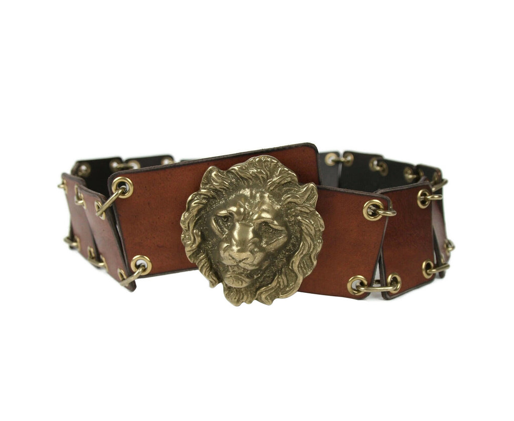 Saint Laurent Men's Rustic Brown Leather Eyelet Chain Buckle Belt 440835 2048 - LUX LAIR