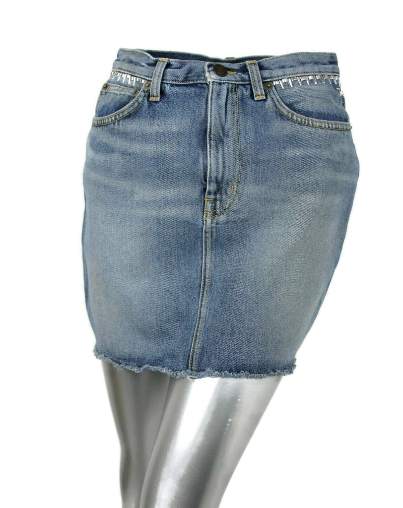 Saint Laurent Women's Dirty Light Blue Denim 80s Mini Skirt 449103 4270 (26)