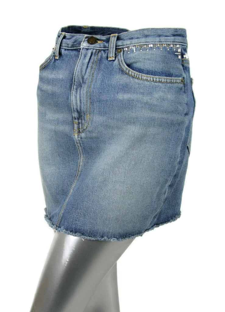 Saint Laurent Women's Dirty Light Blue Denim 80s Mini Skirt 449103 4270 (27)